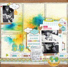 15 Days of Inspiration Celebration Colorful Life Layout by Anna-Karin Evaldsson Papercrafting Sizzix Doodlebug Handmade Scrapbook DIY