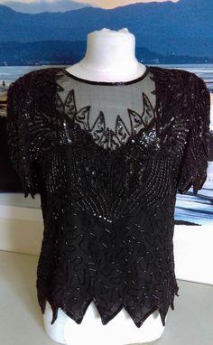 820619e8a10 80s Black Beaded Sequin Silk Top