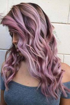 Purple Balayage with Loose Curls picture2