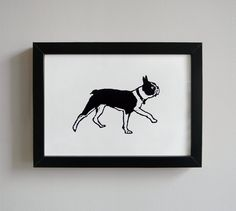 Walking Boston Terrier - original linocut print