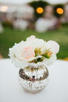 mercury glass vases with flowers | Pink and White Flowers in Mercury Glass Vase | photography by http ...