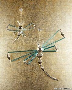 bead dragonfly ornaments, Martha Stewart