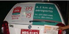 Ibis - Vila Velha / #CARTAXI    O hotel Ibis da rede Accor, está com mais uma campanha em circulação.  A ação realizada pela Cartaxi, está acontecendo nos vidros traseiros de 13 táxis do aeroporto de Vitória comunicando as tarifas da nova unidade.