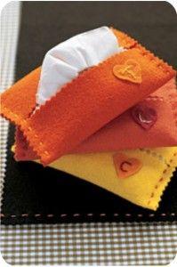 Porta-lenços de papel feito de feltro
