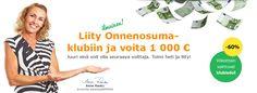 Liityy Onnenosuma klubiin ja voita joka kuukausi arvottava 1000 euroa. http://onnenosuma.valitutpalat.fi/2909/WJOoucF70kSz/register/auto_qVmbm/registerable