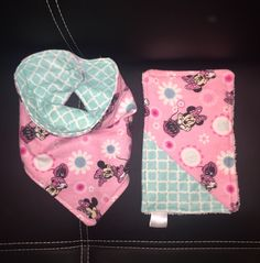 Baby girl drool bib and matching mini burp cloth   https://www.etsy.com/shop/BurnettesBibs?ref=search_shop_redirect