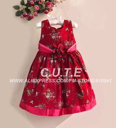 Free shipping 5 pcs Christmas Baby Red Dress Girls Floral Formal Sash Dress Children Clothes Kids Sleeveless 1118004-BD(China (Mainland))