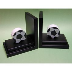 Soccer Bookends with Espresso Base