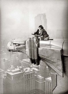 Margaret Bourke-White working at the top of the Chrysler Building, New York, New…