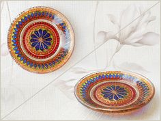 RichanaDragon ||| Glass plate. Сan be used as dinnerware, as a bowl candle holder, or jewelry storage (holder). Hand painted stained glass.