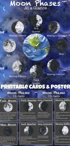 FREE Printable Moon Phases ID Cards + BONUS Poster. These are such high quality… Space Solar System, Solar System Poster, Solar System Planets, Our Solar System, Earth And Solar System, Solar System Activities, Space Activities, Science Activities, Science Ideas