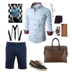 Doublju Mens Casual Shirt with  Contrast Neck Band Skyblue