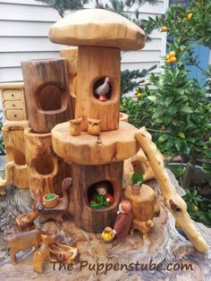 : Hollow Log with hole set-up Heartwood Arts via Puppenstube Home Made Games, Art For Kids, Crafts For Kids, Fairy Tree Houses, Wood Stumps, Green Woodworking, Natural Toys, Woodland Party, Wood Slab