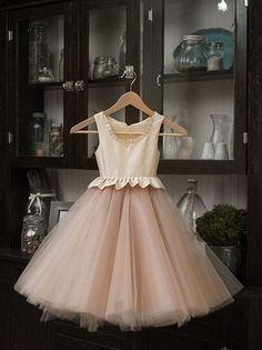 Nude flower girl dress - http://www.dailyweddingideas.com/wedding-ideas/nude-flower-girl-dress.html