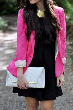 Black dress, hot pink blazer, white and gold accessories.