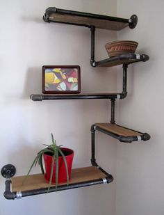 Pipe Wall Shelf with Reclaimed Wood Custom Pipe Shelves. Made To Order Corner Sh. Pipe Wall Shelf with Reclaimed Wood Custom Pipe Shelves. Made To Order Corner Shelf Reclaimed Fir a Diy Corner Shelf, Diy Casa, Industrial Interiors, Industrial Furniture, Industrial Apartment, Plumbing Pipe Furniture, Industrial Bedroom, Metal Furniture, Industrial Closet