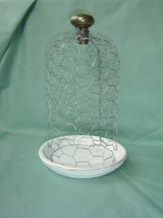 Chicken wire cloche and doorknob handle