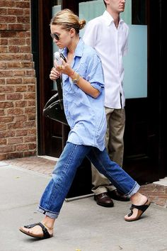 Ashley Olsen: Total Denim + Birkenstock Sandals