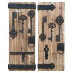 (wall gallery idea) Showcasing a wood plank design and key accents, this lovely wall decor set adds a charming touch to your living room or den. Joss and Main. (  Produc...