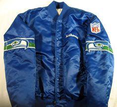 Vintage 80's Starter Satin Seattle Seahawks BLUE Football Jacket