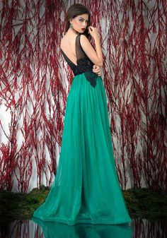 Magical Sexy See Through Chiffon Green Prom Dress