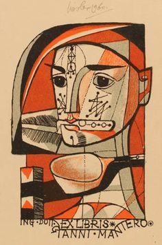 Bookplate by Josef Liesler for Gianni Mantero, 1960 : Hartvig Thomsen (cassette: 1 No. 872)