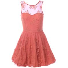 AX Paris Lace Kick Out Dress ($52) ❤ liked on Polyvore featuring dresses, vestidos, short dresses, pink, pink cocktail dress, sexy cocktail dresses, short red cocktail dress, red party dresses and red skater dress