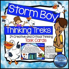 Australia: Storm Boy Thinking Task Cards by Teaching Treks Learning Stations, Learning Centers, Christmas In Australia, Australian Authors, Higher Order Thinking, Easter Traditions, Australian Animals, Creative Thinking, Teacher Pay Teachers