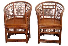 Barrel-Back Bamboo Chairs, Pair