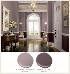 Dining room paint with chair rail chair rail dining room colors for Kitchen Paint Colors, Room Paint Colors, Paint Colors For Living Room, Paint Colors For Home, Bedroom Colors, House Colors, Bedroom Decor, Purple Kitchen Walls, Mauve Living Room