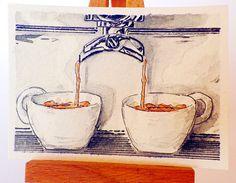Italian coffee Aceo card Espresso bar coffee by Artecolour on Etsy