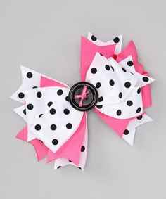 Love this Payton Grace Bows Bubblegum & Black Polka Dot Button Bow Clip by Payton Grace Bows on #zulily! #zulilyfinds