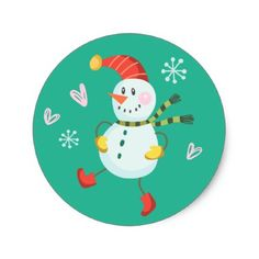 Holly Jolly Snowman Holiday Stickers | Emerald - holidays diy custom design cyo holiday family