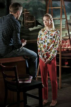 Work Lemon's exact fruit-print Equipment blouse ($99, originally $295) with a pair of fiery red trousers to mimic her high-wattage combo.                  Image Source: The CW