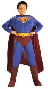 Superman Returns Deluxe Muscle Chest Child Costume - - This costume includes a muscle chest, blue jumpsuit with attached boot tops, burgundy cape and molded yellow belt. This is an officially licensed Superman costume, © DC Comics. Costume Garçon, Boy Costumes, Super Hero Costumes, Costume Ideas, Adult Costumes, Villain Costumes, Funny Costumes, Superman Halloween Costume, Halloween Costumes