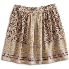 Lucky Brand Printed Mini Skirt ($30) ❤ liked on Polyvore featuring skirts, mini skirts, bottoms, long patterned skirts, silk mini skirt, brown silk skirt, brown skirt and short skirts
