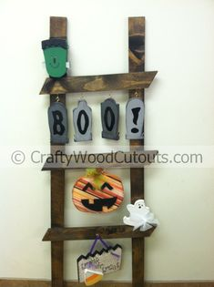 October Ladder Kit Wood Craft Home Decor from Crafty Wood Cutouts (Kids Wood Crafts) Halloween Wood Crafts, Fall Crafts, Holiday Crafts, Home Crafts, Diy Crafts, Wood Projects, Woodworking Projects, Projects To Try, Woodworking Plans