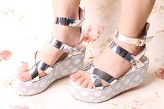 Stylish Cross Buckle Dot Sandals Silver - $81.72