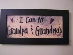 I Can At Grandpa and Grandma's sign framed print great GRANDPARENTS gift. $17.99, via Etsy.