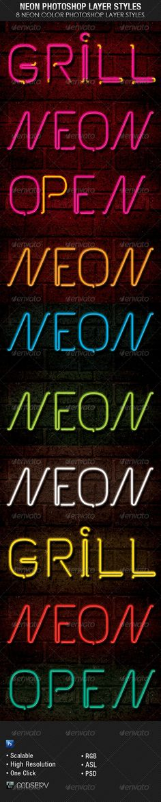 The Neon Photoshop Layer Styles are sold exclusively on graphicriver  for $4.00 and can be used for variety of design projects, including Posters, Flyers etc. Great for projects with a Club Theme, Signage or Sports Bar Theme etc. 8 Neon Color Styles are included.The download includes 6 PSD file with 6 High Resolution Photoshop Styles and an ASL file for easy loading and one click editing. Great for Text or Shapes.