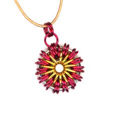 Fireball Pendant Red and Gold Chainmail Leather Cord by Lehane #Group2020