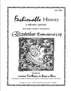 Elizabethan Embroidered Coif Pattern by Queta's by JDRobarts, $6.85