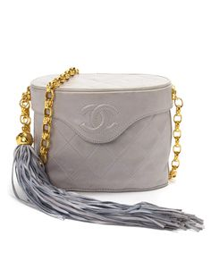 Dove grey & gold-tone quilted box bag by Chanel on secretsales.com