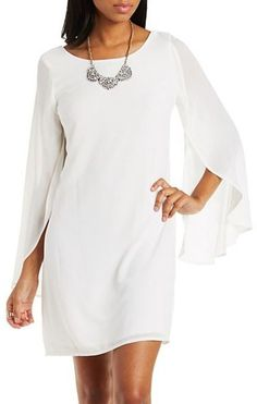 Chiffon Open Sleeve Shift Dress