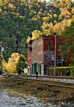 ~Thurmond is an abandoned railway town in West Virginia's spectacular New River gorge. All that remains are empty company offices, a bank, and an occasion train passing through~