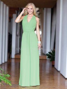 Sheath/ Column Natural Waist V Neck Chiffon Sleeveless Bridesmaid Gown