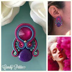 Veronique Creazioni Soutache Earrings, Drop Earrings, Shibori, Beaded Embroidery, Costume Jewelry, Boho Fashion, Jewerly, Diy And Crafts, Bling