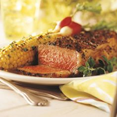 BBQ GRILLING #BBQ #Grilling Coffee-and-Pepper-Crusted New York Steaks