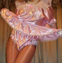 Sissy Pink Satin Night Shirt Baby Doll Nightgown Wide Gusset Panty Panties XL 1X…