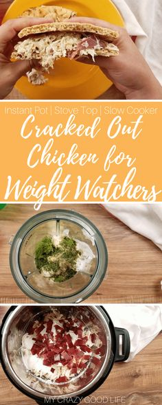 Making this cracked out chicken for Weight Watchers is easier than ever thanks to the Instant Pot. You can make this lighter version for sandwiches, dips, and more!